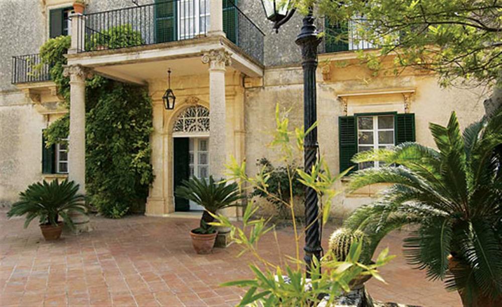 The front of the villa at Villa Trombadore, Modica Sicily, Italy