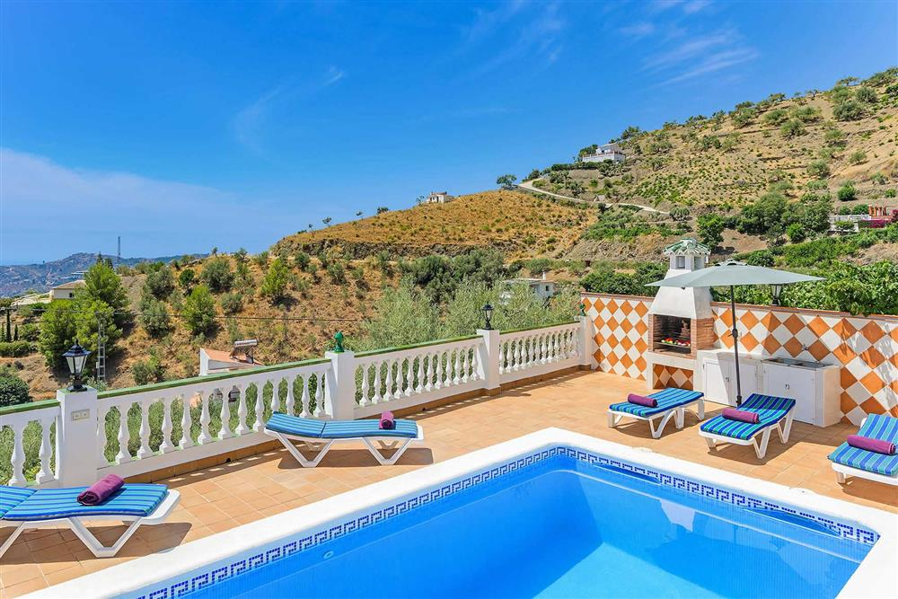 Pool, sunloungers, view at Villa Vista Azul, Frigiliana, Andalucia
