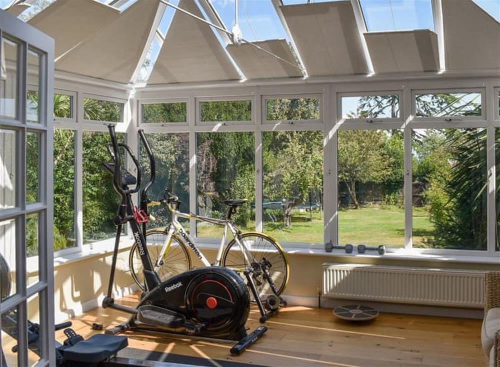 Fitness equipment in the conservatory