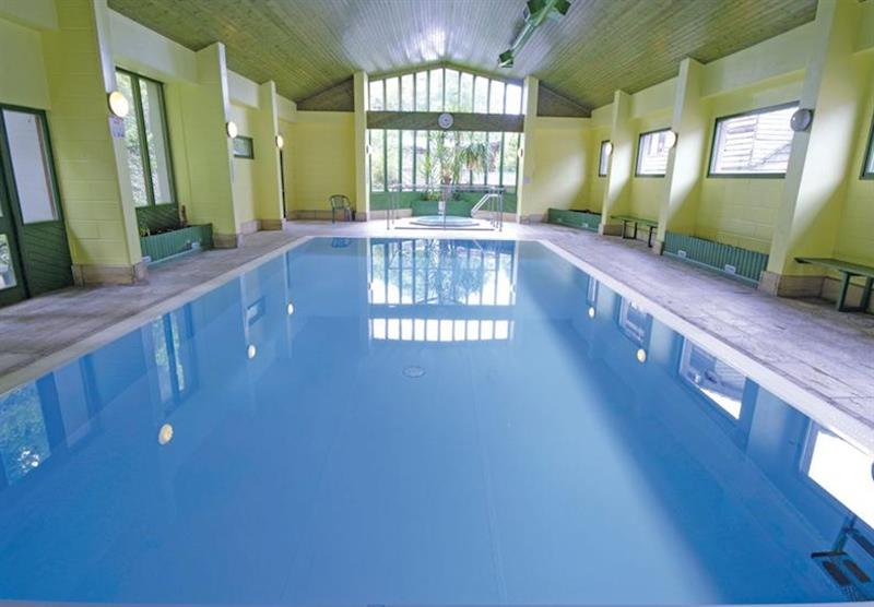 Indoor heated swimming pool at Watermouth Lodges in North Devon, South West of England