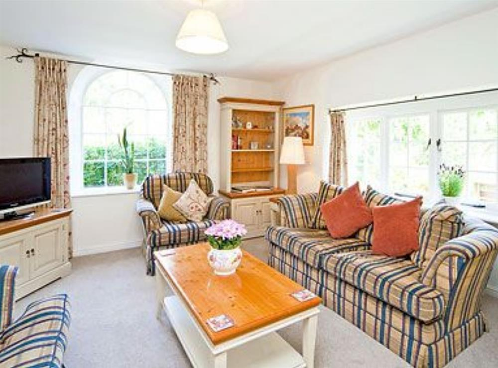 Living room at Waterwheel in Bow Creek, Nr Totnes, South Devon., Great Britain