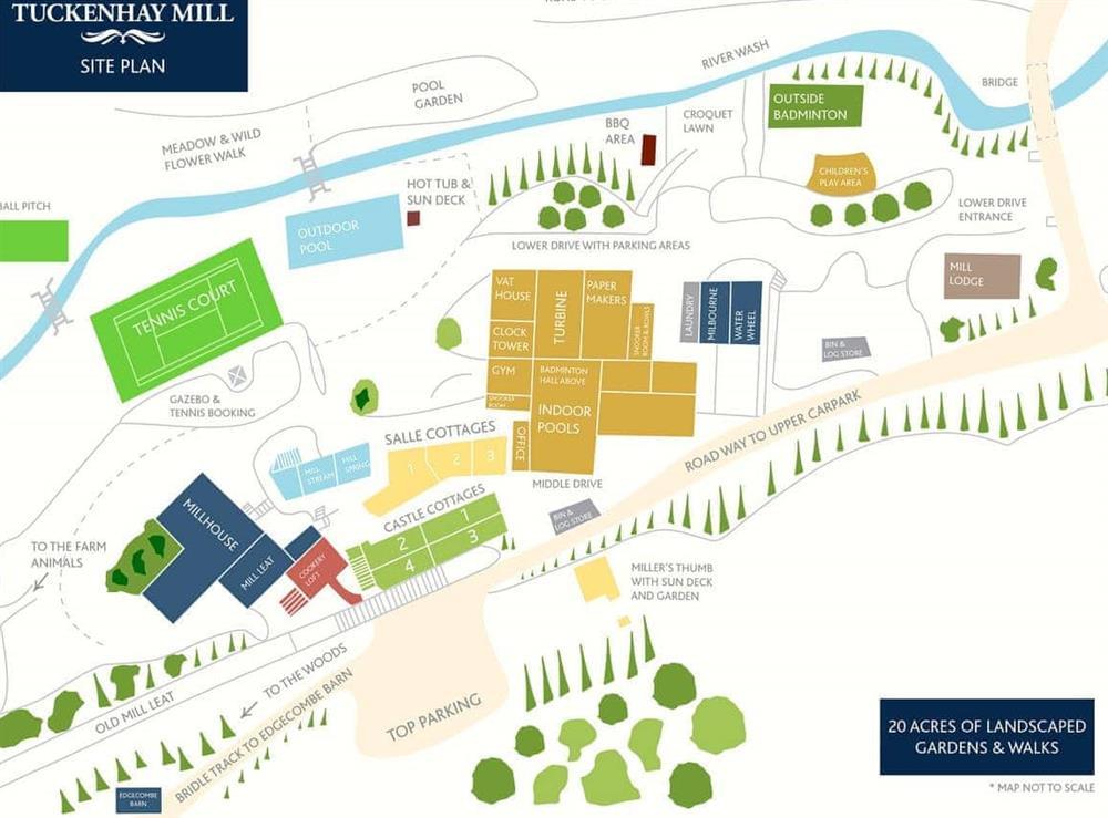 Tuckenhay Mill Site Plan at Waterwheel in Bow Creek, Nr Totnes, South Devon., Great Britain