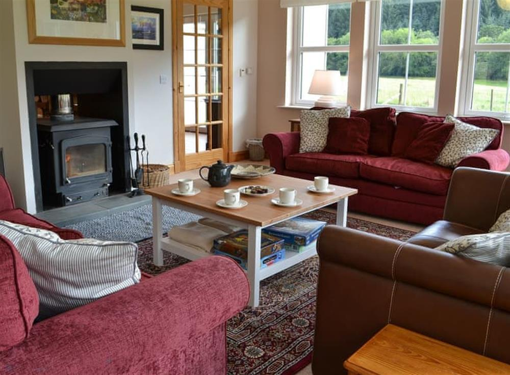 Living room with wood burner at Feocha Bheag,
