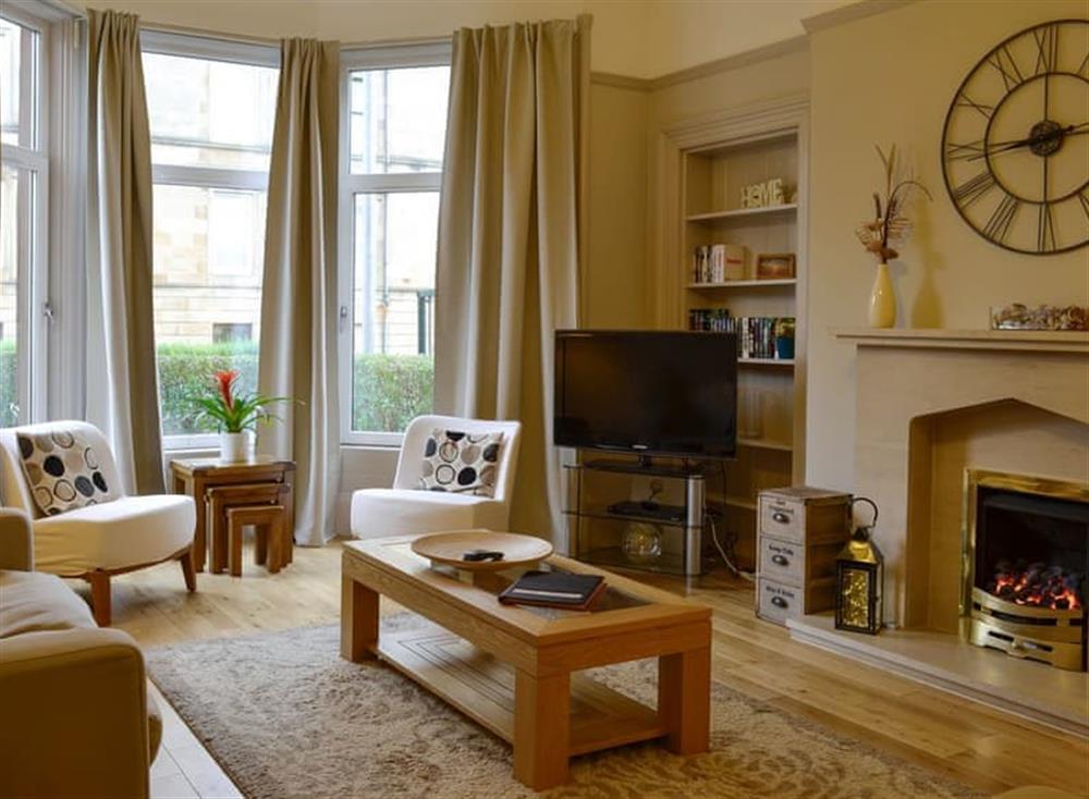 Elegant living room at West End Apartment in Glasgow, Lanarkshire