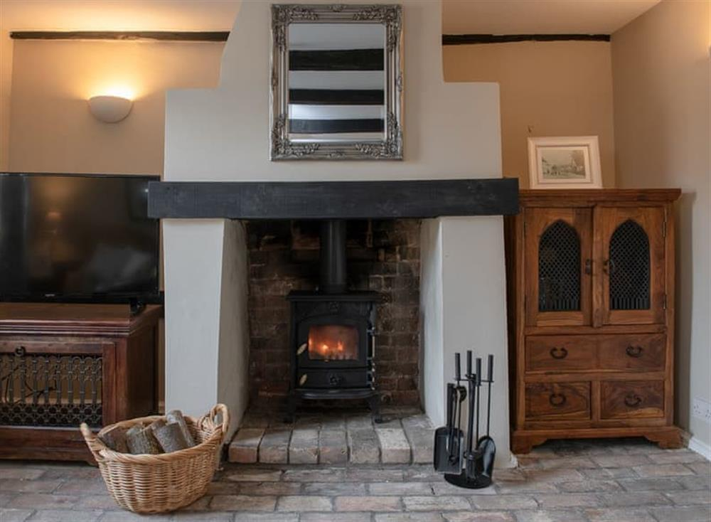Living room with wood burner at West View in Dickleburgh, near Diss, Norfolk