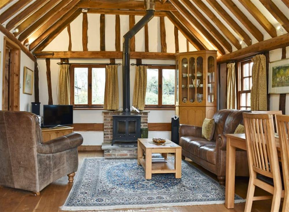 Impressive living/dining room with beams at Wheelwrights in Kersey, near Hadleigh, Northamptonshire