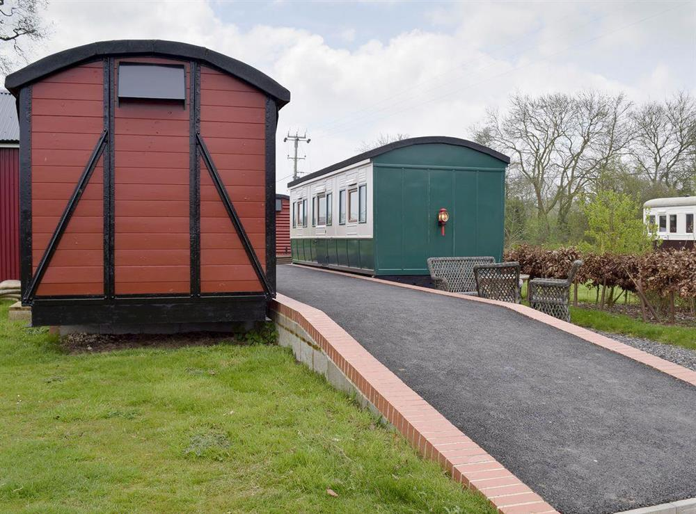 Quirky railway carriage converted holiday home at Wilby Halt in Brockford, near Stowmarket, Suffolk