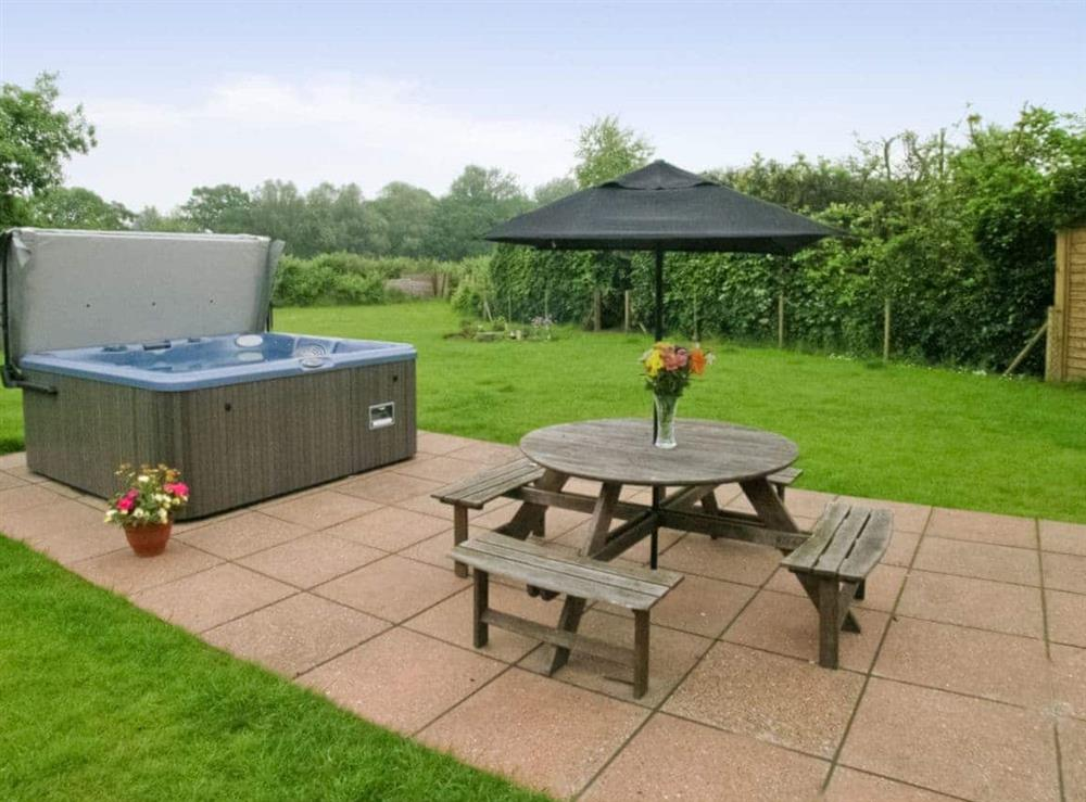 Hot tub at Willow Barn in Neatishead, Norwich, Norfolk., Great Britain
