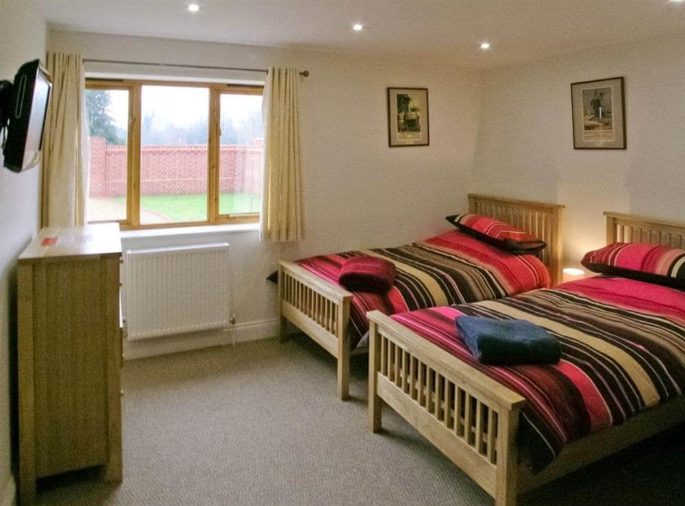 Twin bedroom at Willow Barn in Neatishead, Norwich, Norfolk., Great Britain
