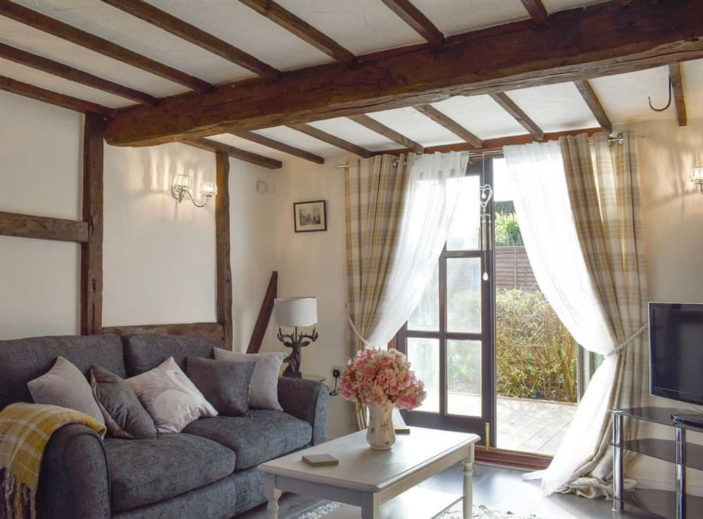 Comfortable seating within living area at Wilma Cottage in Geldeston, near Beccles, Suffolk