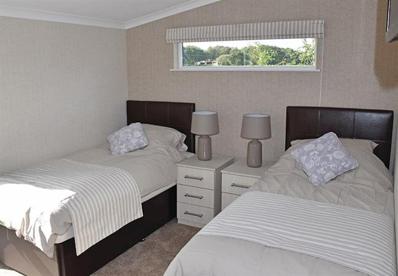 Twin bedroom at the Glen Mhor 2 at Wold View Lodges in Claxby, Nr Market Rasen