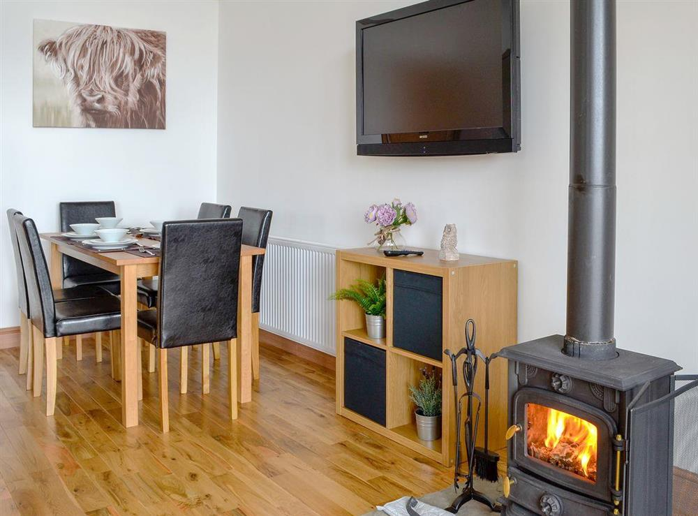 Charming open plan living space with a cosy wood burner at The Clyde,