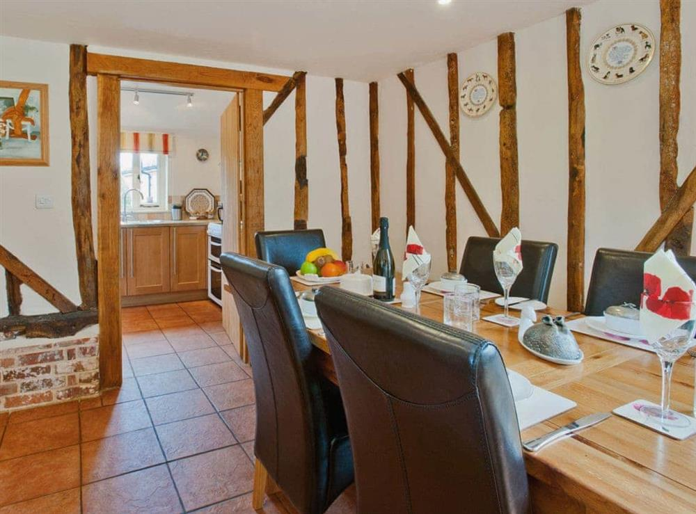 Dining room at Woodside Barn Cottages in Friston, Saxmundham, Suffolk., Great Britain