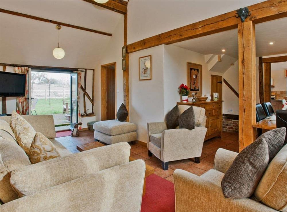 Living room at Woodside Barn Cottages in Friston, Saxmundham, Suffolk., Great Britain