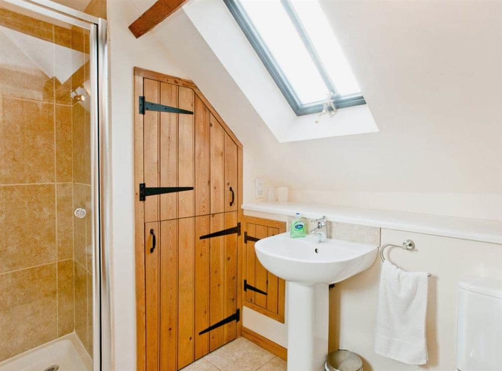 Shower room at Woodside Barn Cottages in Friston, Saxmundham, Suffolk., Great Britain