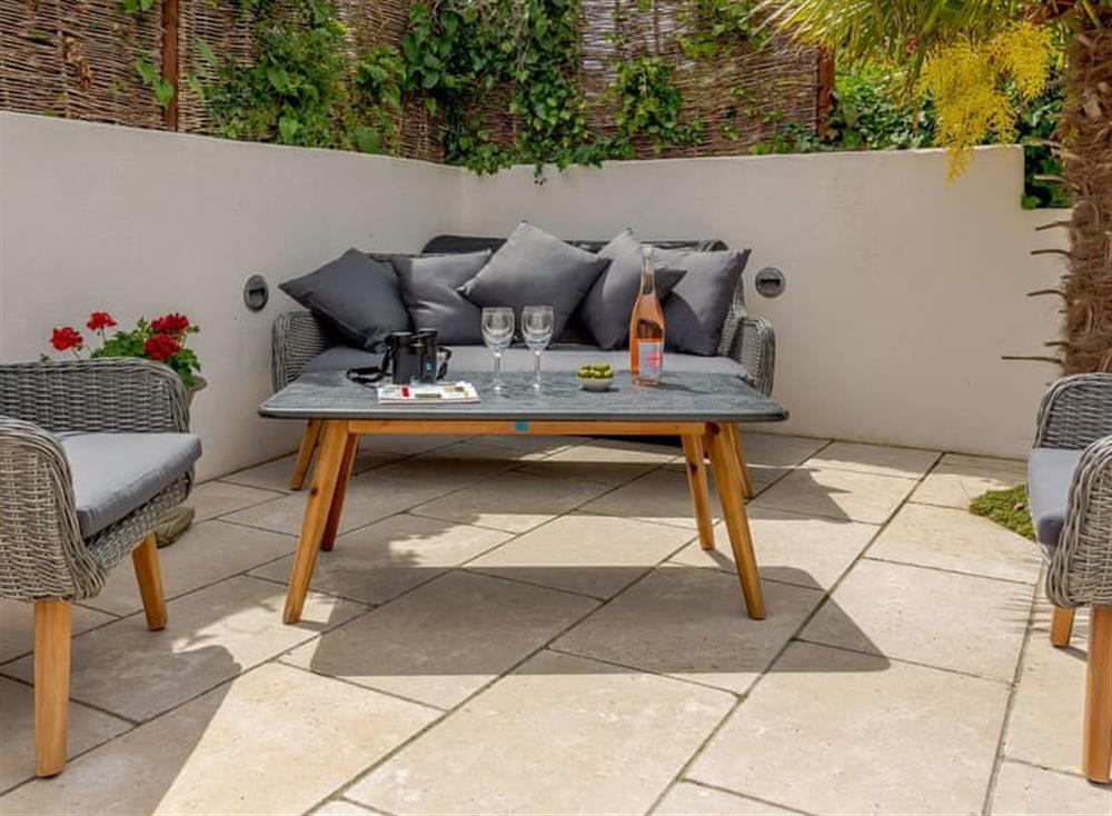 Paved patio with outdoor furniture