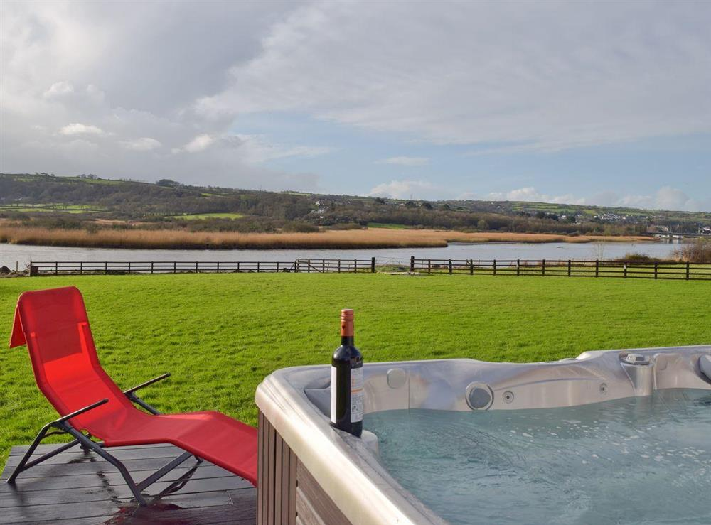 Indulgent hot-tub with spectacular views at Y Dorlan in Cardigan, Dyfed