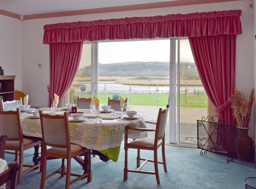 Spacious dining room with panoramic views at Y Dorlan in Cardigan, Dyfed