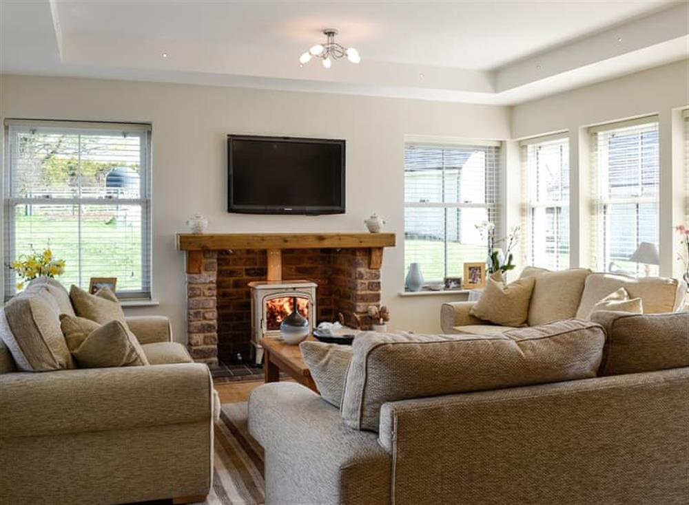 Sitting room with TV and wood burner (photo 2) at Yonderton House,